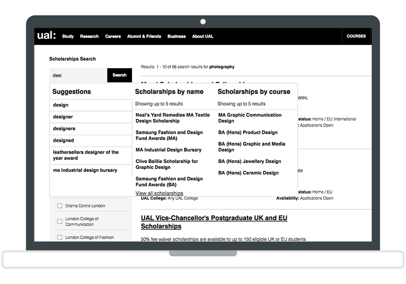 The Concierge in the UAL search interface